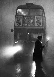 London bus in smog