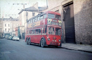 Double decker bus at Finsbury Park