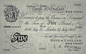 White five pound note