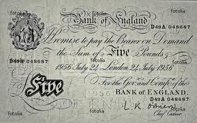 White five pound note