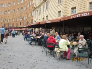 Diners around the square