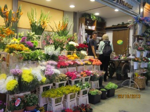 Flower stall inside the market
