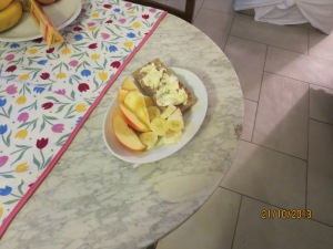 French brie, cracker, banana and apple,