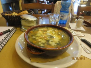 Ministrone soup at Little David Restaurant