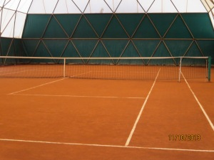 Tennis court inside dome