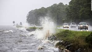 Traffic moves along US 98 as Hurricane Hermine approaches Eastpoint, Florida, on September 1